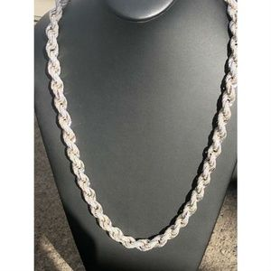 Harlembling Sterling Silver Diamond Rope Chain